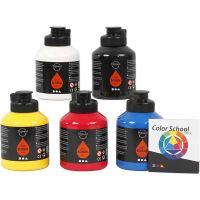 Pigment Art School Paint, primary colours, 5x500 ml/ 1 pack