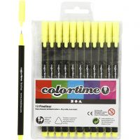 Colortime Fineliner, line 0,6-0,7 mm, yellow, 12 pc/ 1 pack