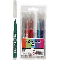 Colortime Glitter Marker, line 2 mm, assorted colours, 6 pc/ 1 pack