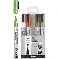 Chalk markers, line 1,2-3 mm, metallic colours, 5 pc/ 1 pack