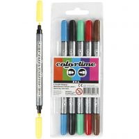 Colortime Double Marker, line 2,3+3,6 mm, standard colours, 6 pc/ 1 pack