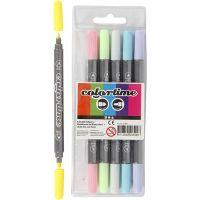 Colortime Double Marker, line 2,3+3,6 mm, pastel colours, 6 pc/ 1 pack