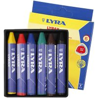 Wax Crayons, L: 9 cm, thickness 15 mm, 6 pc/ 1 pack