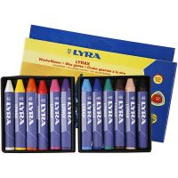 Wax Crayons, L: 9 cm, thickness 15 mm, 12 pc/ 1 pack