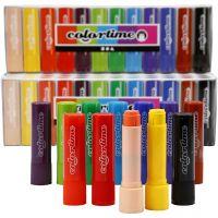 Soft Color Stick, L: 8 cm, assorted colours, 120 pc/ 1 pack, 6,5 g