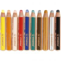 Woody 3-in-1 Pencils, L: 11 cm, thickness 16 mm, lead 10 mm, assorted colours, 10 pc/ 1 pack