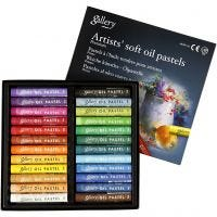 Gallery Oil Pastel Premium, L: 7 cm, thickness 10 mm, assorted colours, 24 pc/ 1 pack
