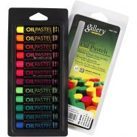 Gallery Oil Pastel, L: 7 cm, thickness 11 mm, neon colours, 12 pc/ 1 pack