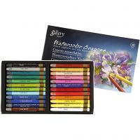 Watercolor Crayons, L: 9,3 cm, assorted colours, 24 pc/ 1 pack