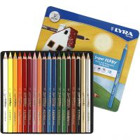 Super Ferby 1 colouring pencils, L: 18 cm, lead 6,25 mm, assorted colours, 18 pc/ 1 pack