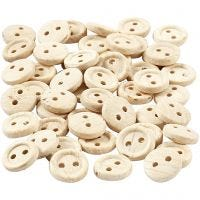 Wooden Buttons, D: 8 mm, 2 holes, 50 pc/ 1 pack