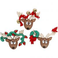 Novelty Buttons, oh deer, H: 23-25 mm, W: 28-34 mm, 3 pc/ 1 pack