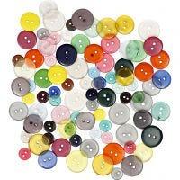 Button Mix, D: 12+18+20 mm, assorted colours, 100 pc/ 1 pack, 50 g