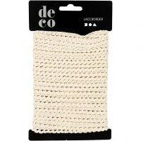 Crochet Lace Border , W: 10 mm, off-white, 10 m/ 1 roll