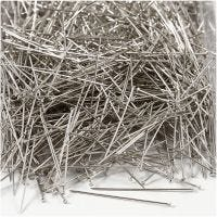 Straight Pins, L: 37 mm, thickness 0,7 mm, silver, 500 g/ 1 pack