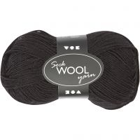 Sock Yarn, L: 200 m, black, 50 g/ 1 ball