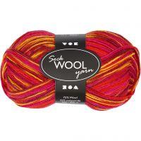 Sock Yarn, L: 200 m, red/orange harmony, 50 g/ 1 ball