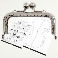 Purse Clasp Kit, size 8 cm, silver, 1 pc