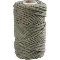 Macramé cord, L: 55 m, D: 4 mm, moss green, 330 g/ 1 roll