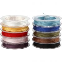 Polyester Cord, thickness 1 mm, assorted colours, 10x50 m/ 1 pack