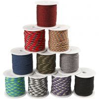 Polyester Cord, W: 5 mm, assorted colours, 10x10 m/ 1 pack