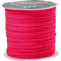 Polyester Cord, thickness 1 mm, neon pink, 28 m/ 1 roll