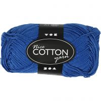 Mercerized Cotton Yarn, no. 6S/4, L: 165 m, cobalt blue, 50 g/ 1 ball
