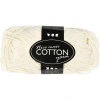 Cotton Yarn, no. 8/8, L: 80-85 m, size maxi , cream, 50 g/ 1 ball