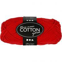 Cotton Yarn, no. 8/8, L: 80-85 m, size maxi , red, 50 g/ 1 ball