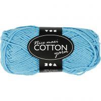 Cotton Yarn, no. 8/8, L: 80-85 m, size maxi , turquoise, 50 g/ 1 ball