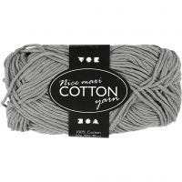 Cotton Yarn, no. 8/8, L: 80-85 m, size maxi , grey, 50 g/ 1 ball