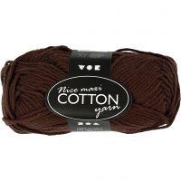 Cotton Yarn, no. 8/8, L: 80-85 m, size maxi , brown, 50 g/ 1 ball