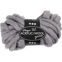 Chunky yarn of acrylic/wool, L: 15 m, size mega , grey, 300 g/ 1 ball