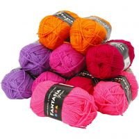 Fantasia Acrylic Yarn, L: 80 m, assorted colours, 10x50 g/ 1 pack
