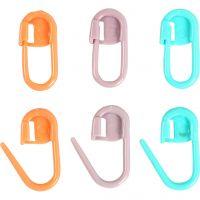 Stitch Marker, L: 22 mm, green, orange, purple, 30 pc/ 1 pack