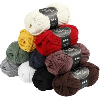 Spaghetti yarn, L: 35 m, assorted colours, 10x100 g/ 1 pack