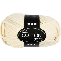 Cotton tube yarn, L: 45 m, off-white, 100 g/ 1 ball