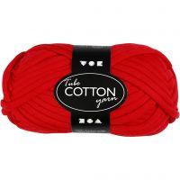 Cotton tube yarn, L: 45 m, red, 100 g/ 1 ball