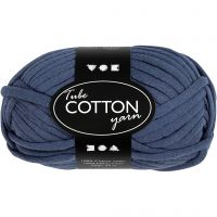 Cotton tube yarn, L: 45 m, dark blue, 100 g/ 1 ball