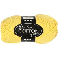 Cotton Yarn, no. 8/4, L: 170 m, yellow, 50 g/ 1 ball