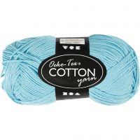 Cotton Yarn, no. 8/4, L: 170 m, turquoise, 50 g/ 1 ball
