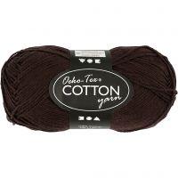 Cotton Yarn, no. 8/4, L: 170 m, dark brown, 50 g/ 1 ball
