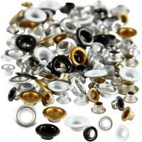Eyelets, H: 2,9+3,15 mm, D: 5+8 mm, hole size 3,2+4,8 mm, 120 pc/ 1 pack