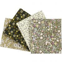 Patchwork Fabric, size 45x55 cm, 100 g, green, 4 pc/ 1 pack