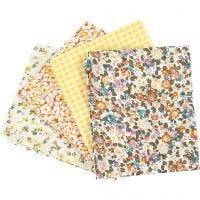 Patchwork fabric, size 45x55 cm, 100 g, yellow, 4 pc/ 1 bundle