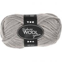 Sydney Yarn, L: 50 m, light grey, 50 g/ 1 ball