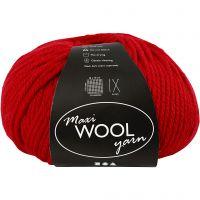 Wool yarn, L: 125 m, red, 100 g/ 1 ball