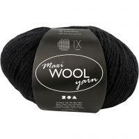 Wool yarn, L: 125 m, black, 100 g/ 1 ball