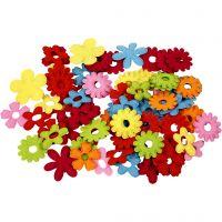 Felt Flowers, size 35x45 mm, 135 pc/ 1 pack