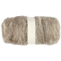 Carded Wool, natural, 100 g/ 1 bundle